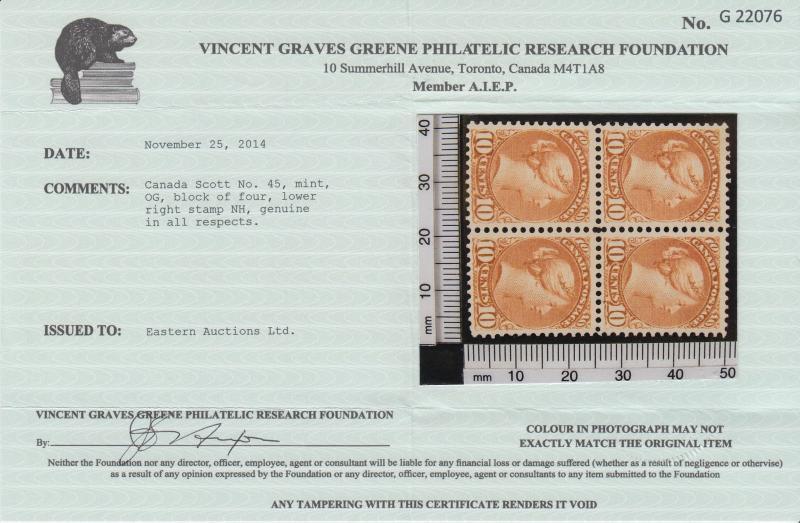 Canada Sc 45 MLH. 1897 10c brown red Queen, fresh, VLH. Greene Cert.