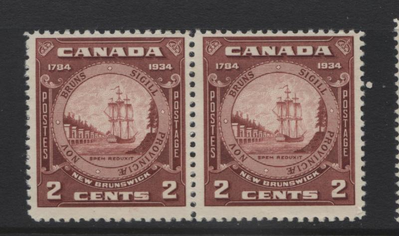 Canada - Scott 210 - Seal New Brunswick -1934 - MVLH - Joined Pair of  2c Stamp