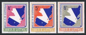 Guatemala 396-398,MNH.Michel 784-786. Guatemala's claim to British Honduras,1967