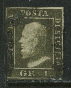 Italy Sicily 1859 1 grana greyish olive green used
