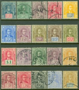 EDW1949SELL : SARAWAK 1918-23 SG #50-61 (w/o 57), 63-71 VF Used or Mint Cat £165