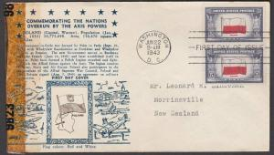 USA 1943 CROSBY photo FDC to New Zealand - Overrun Nations Poland..........55355
