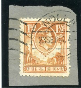 Northern Rhodesia 1938 KGVI 1½d yellow-brown TICK BIRD FLAW variety VFU. SG 30b.
