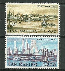 1973 San Marino 798-9  New York 300th Anniversary C/S of 2 MNH