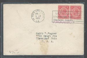 BRITISH HONDURAS  (P0408B) KGV 2C PR COVER, CANCELLED 1929 NEW ORLEANS SLOGAN TO