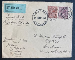 1925 Liverpool England First Flight Airmail Cover FFC to Durban  South Africa