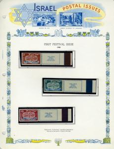 ISRAEL FANTASTIC STARTER EARLY TAB  COLLECTION MINT NH #10/14,15/34,38/47