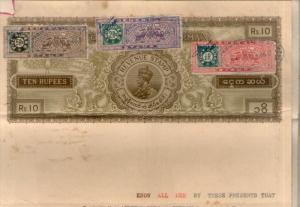 Burma KGV Rs.10 Stamp Paper India Princely State PUDUKKOTTAI Type 20 x3 Gener...