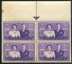 S.W. Africa  Scott#157b, SG#135A 2d Royal Visit KGVI Mint NH OG Guide block of 4