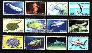 Samoa-Sc#1167-78-Unused NH set-Endangered Marine Life-Reptiles-Fish-Whales-2014-