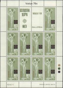 1974 Malta #480-483, Complete Set(4), Sheets of 10, Never Hinged