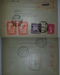 J) 1937 PERU, EL CHASQUI, MAIL OF THE INCAS, INTER-AMERICAN TECHNICAL CONFERENCE