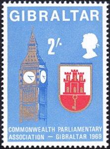 Gibraltar # 221 mnh ~ 2sh Big Ben Clock Tower, Arms of Gibraltar