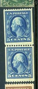 Scott#351 Washington Mint Paste-Up Coil Pair with Weiss 2009 Cert (Stock#351-21)