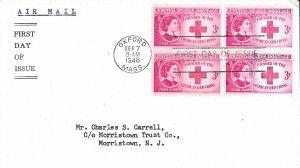 #967, 3c Clara Barton, general purpose cachet, block of 4