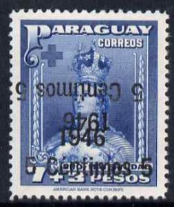 Paraguay 1946 surcharged 5c on 7p + 3p blue with surch do...