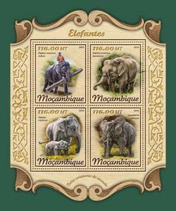 MOZAMBIQUE - 2018 - Elephants - Perf 4v Sheet- MNH