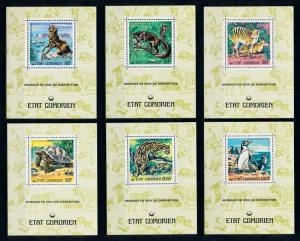 [75885] Comores 1977 Wild Life Wolf Turtle Penguin 6 Deluxe Perf. Sheets MNH