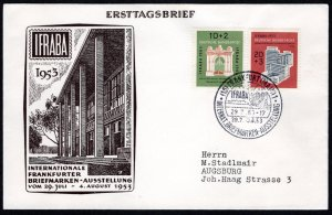GER SC #B332-3 1953 S-P/For Welfare Organizations FDC 07-1953