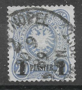 GERMAN P.O.'s IN TURKISH EMPIRE SG3 1884 1pi ON 20pf ULTRAMARINE USED