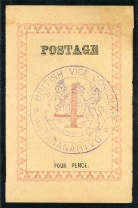 Madagascar 1886 4d rose POSTAGE very fine copy. SG 39.