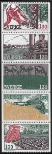 SWEDEN, 1280-1284, HINGED,STRIP OF 5, AGRICULTURE