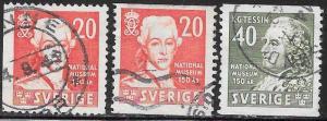 Sweden 329-331 Used - King Gustavus III & K. G. Tessin, Architect