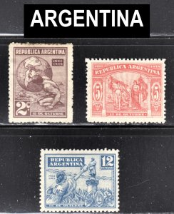 Argentina Scott 371-73 complete set F to VF mint OG H or HR.