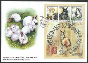 NEW ZEALAND 1999 Year of the Rabbit souvenir sheet commem FDC..............60645