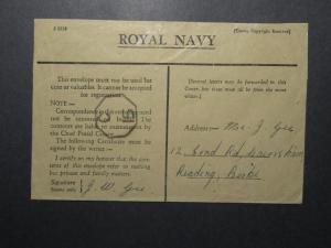 India WWII Forces Cover / APO 304 Bombay Navy Base / Censored - Z12379
