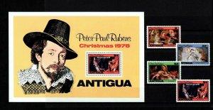 ANTIGUA - 1978 - CHRISTMAS - HOLY FAMILY - ST BARBARA + RUBENS - MNH SET + S/S!