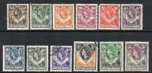 Northern Rhodesia: 1953 QEII vals (12) ex SG 61-72 used