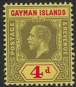 CAYMAN ISLANDS SG46 1913 4d BLACK & RED ON YELLOW MNH