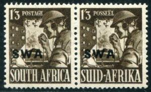 HERRICKSTAMP SOUTH WEST AFRICA Sc.# 143 1943 WW II Pair Mint NH