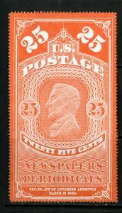 US Stamps # PR3 25c Newspaper XF Scott Value $400.00