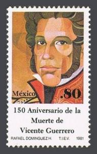Mexico 1224 block/4,MNH.Michel 1737. Vicente Guerrero,statesman,1981.