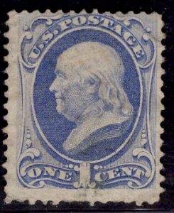 US Stamp #145 1c Ultramarine Franklin USED SCV $20