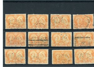 3c Jubilee issue Nova Scotia cancels etc. 12 stamps Canada used