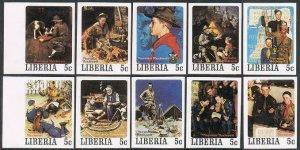 Liberia 853-857 a-j imperf,MNH.Michel 1109B-1158B. Scouting.Norman Rockwell,1979
