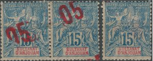Sultanate of Anjouan 1912 error stamps 5c on 15c blue, 3 different varieties