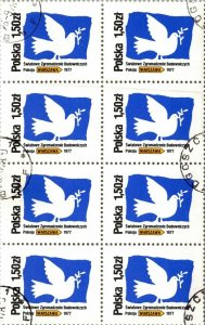 Poland canceled 8 stamp block World Peace Warsaw MNH