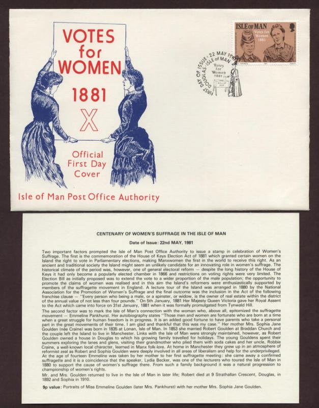 Isle of Man # 197 , Women's Suffrage Centenary FDC