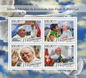 MOZAMBIQUE 2016 SHEET WORLD YOUTH DAYS POPE FRANCIS JOHN PAUL II