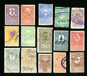 Estonia Stamps Lot of 15 Early Revenues