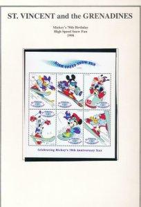 DISNEY ST VINCENT GRENADINES 2660-2665 MINT NH MICKEY'S 70TH BIRTHDAY