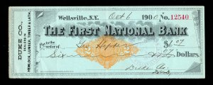 US REVENUE STAMPED PAPER SCOTT #RN-M2 CHECK FIRST NATIONAL BANK WELLSVILLE 1900