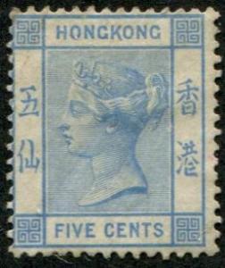 Hong Kong SC# 11 / SG# 29 Queen Victoria, 5¢ mint  no gum