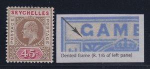 Seychelles, SG 67a, MHR Dented Frame variety