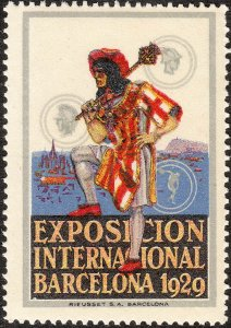 SALE Stamp Label Spain Exposition 1929 Poster Cinderella Coat Arm Barcelona MNH