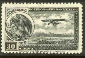 MEXICO C14, 30cts Early Air Mail Plane and coat of arms MINT, NH. F-VF.